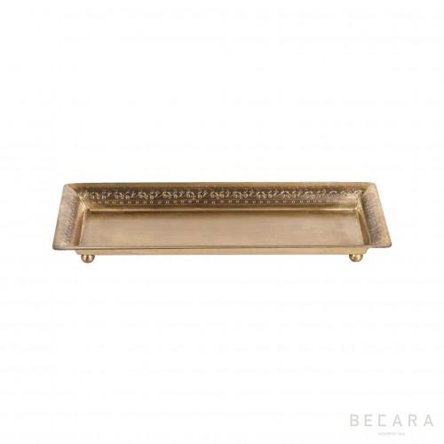 Bandeja rectangular acabado latón pequeña - BECARA