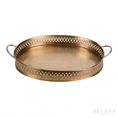 Oval brass tray with handles