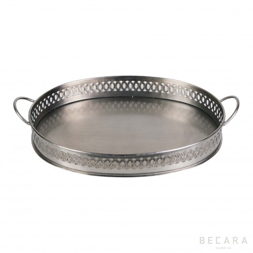 Oval silvered tray with handles