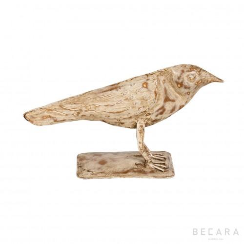 Figura de pájaro pequeño de metal blanco - BECARA