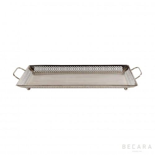 Big silvered tray with handles