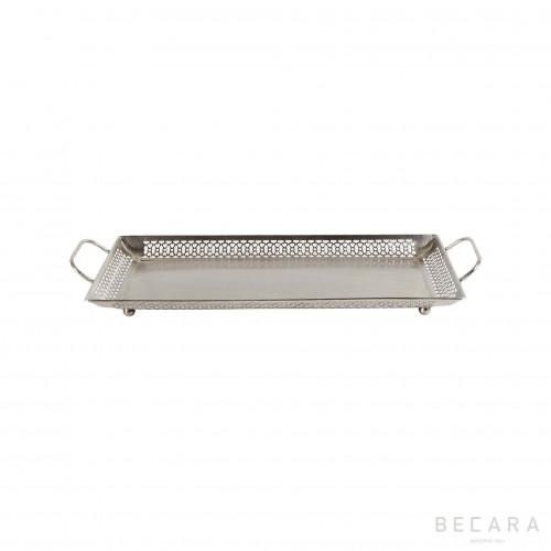 Medium silvered tray with handles