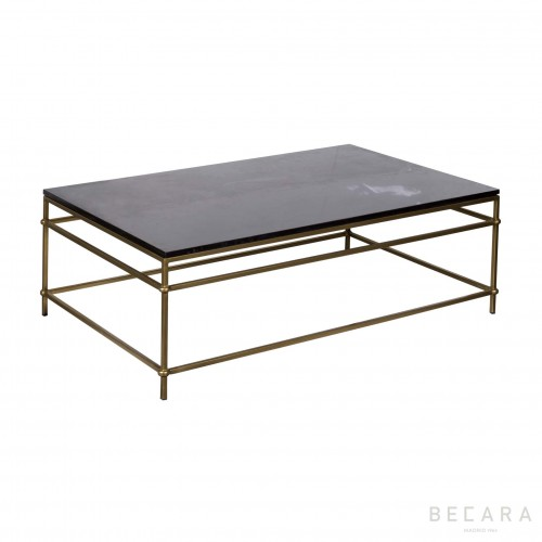 Goldish iron and mable top coffee table
