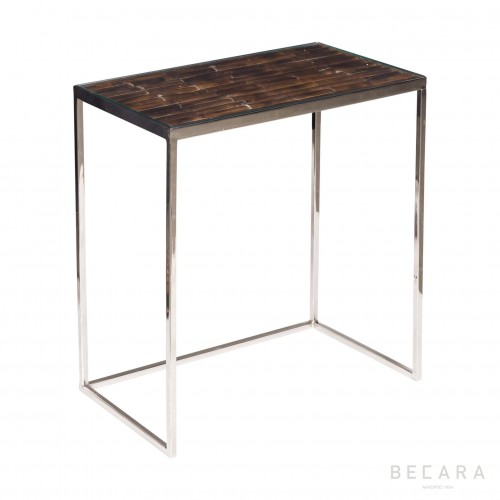 Big dark bamboo and metallic side table