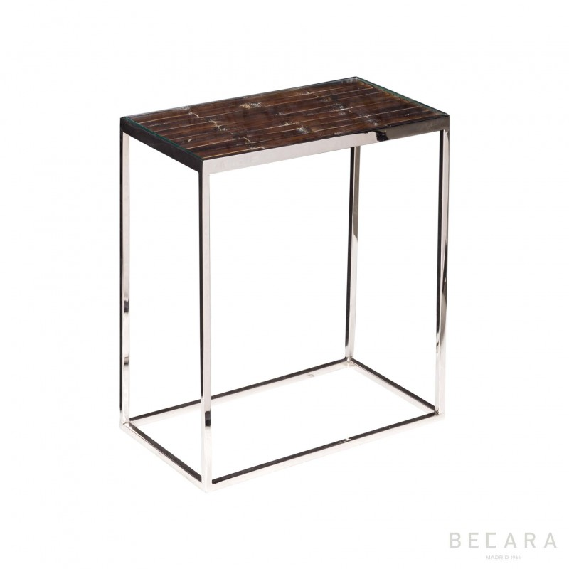 Small dark bamboo side table