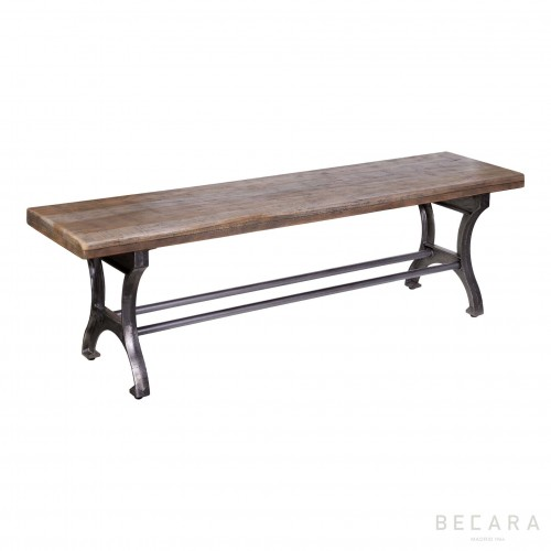 Iron bench with wood seat