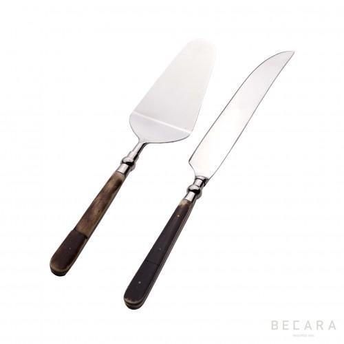 Cake cutlery set with bone handle