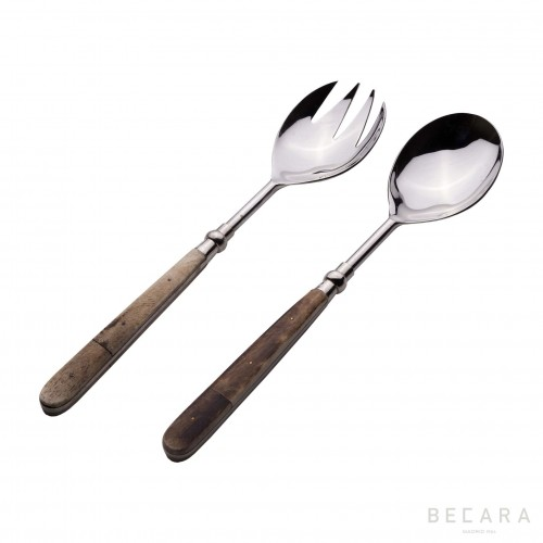 Salad cutlery set with bone handle