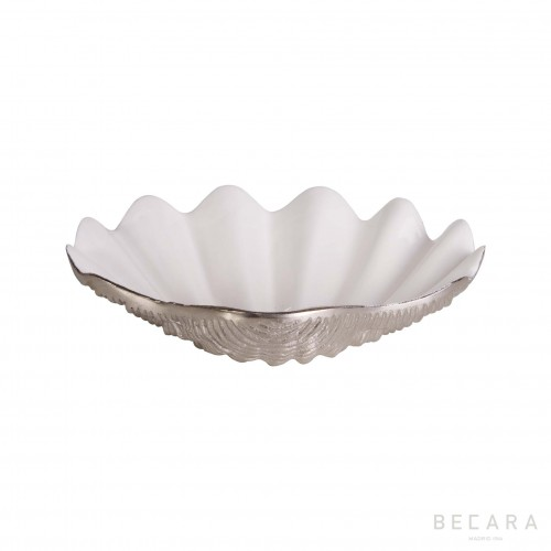 Silvered seashell plate