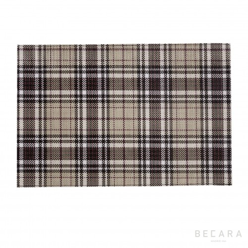 Gray and black tartan placemat