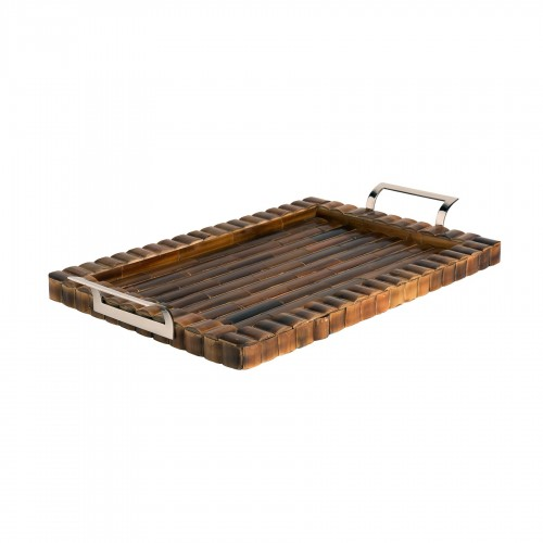 Bamboo tray with metallic handle