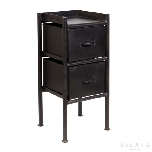 Black side table with 2 drawers