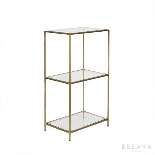 Mesa auxiliar de hierro y cristal - BECARA