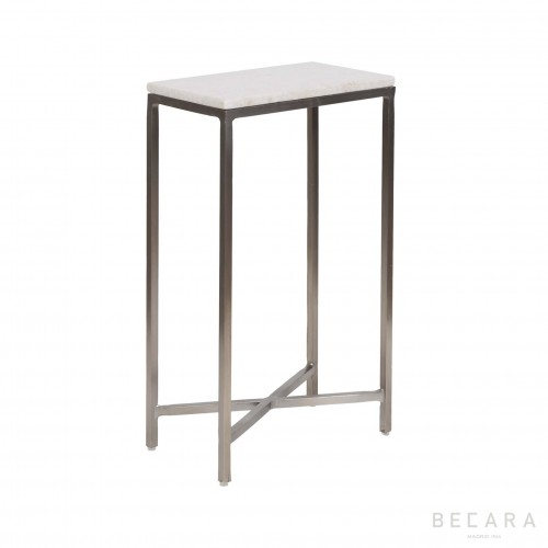 White marble and iron side table