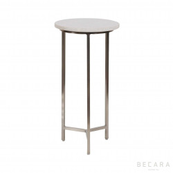 Round marble and iron side table