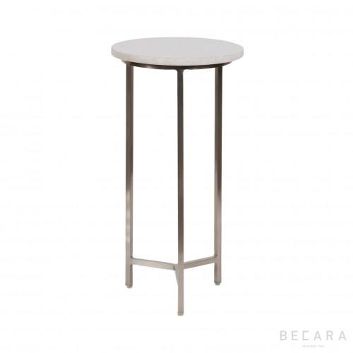 Mesa auxiliar redonda de hierro y mármol - BECARA