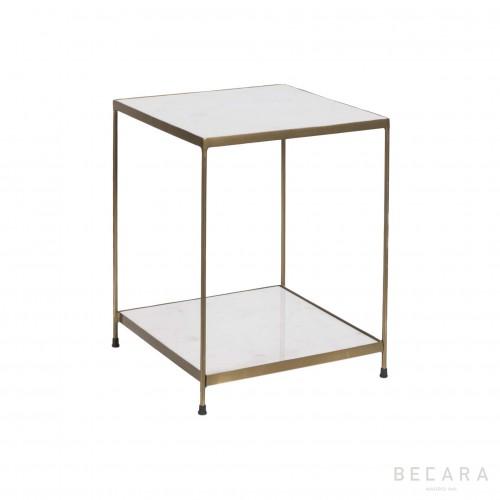 Mesa auxiliar de hierro y mármol - BECARA
