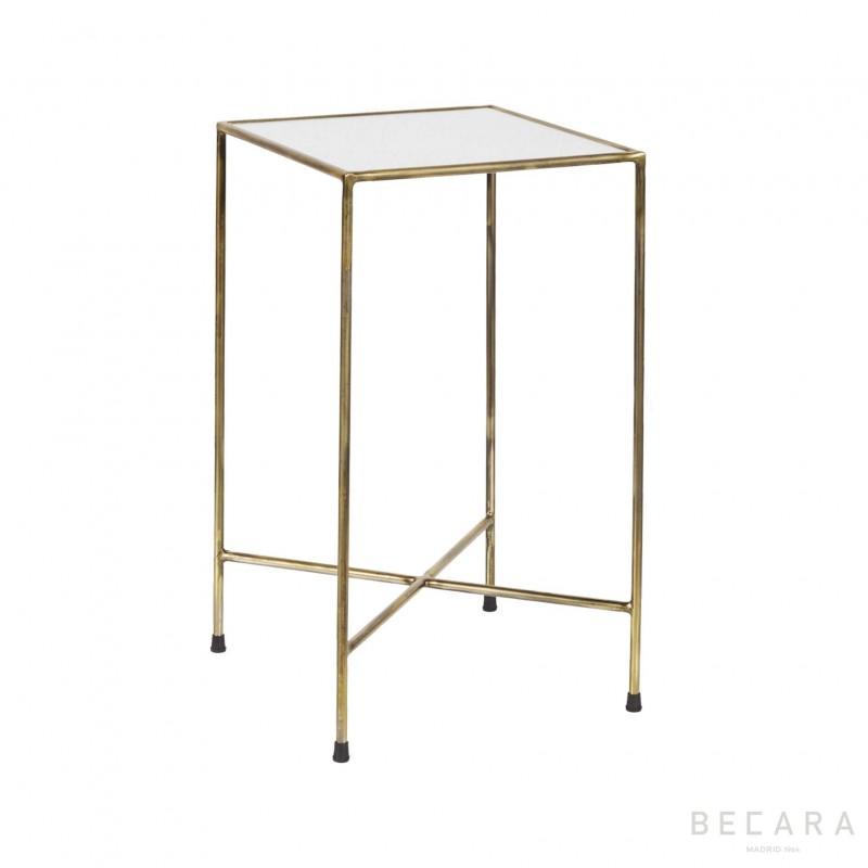 Mesa auxiliar con cristal antigüo - BECARA