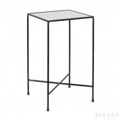 Mesa auxiliar negra con cristal antigüo - BECARA
