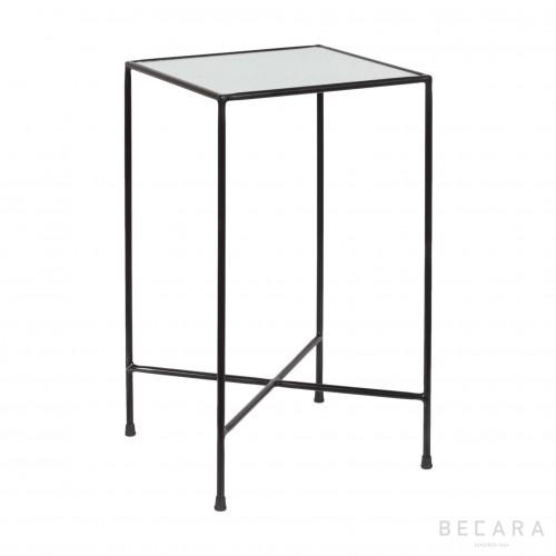 Oldish glass black side table