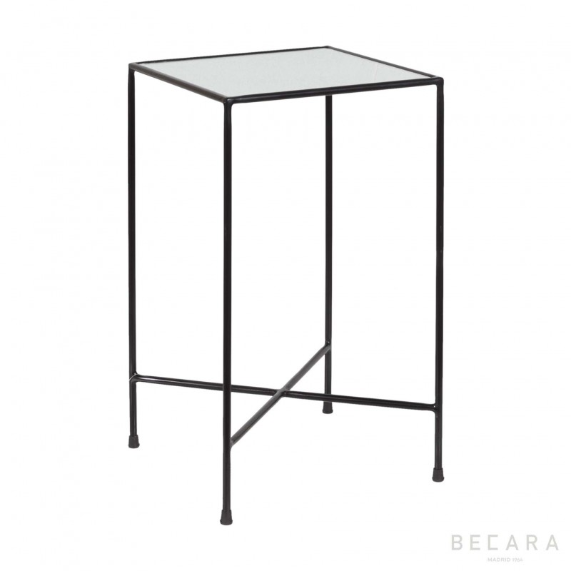 Oldish glass black side table