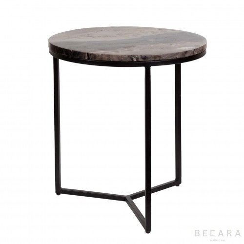Stone top round side table