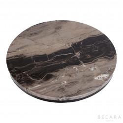 Mesa uxiliar rendonda con tapa de piedra - BECARA