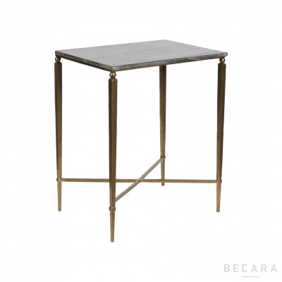Black stone top side table