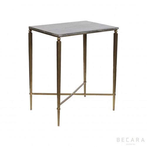 Mesa auxiliar con tapa de piedra negra - BECARA
