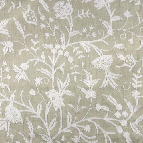 Tela bordada flores blanca - BECARA
