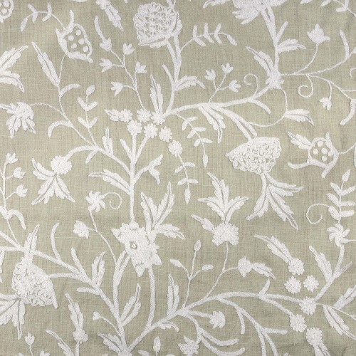White flowers embroidered fabric