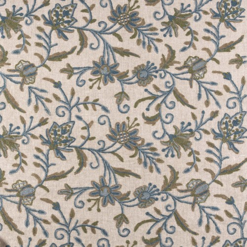 Silvie blue-green embroidered fabric