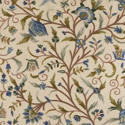 Tela bordada de flores azules