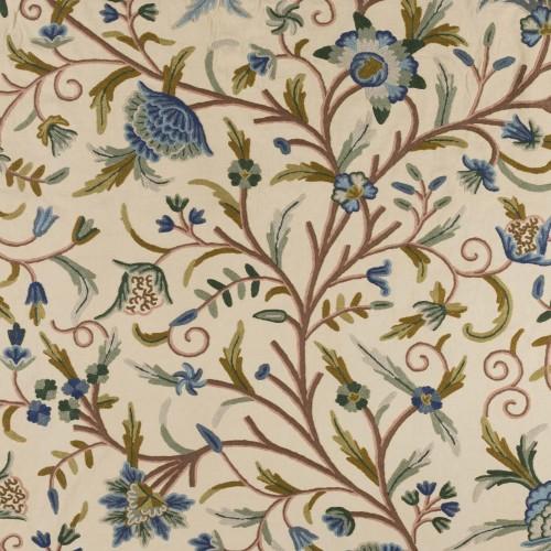 Tela bordada de flores azules - BECARA