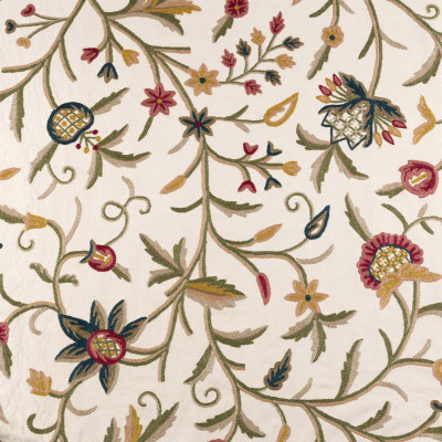 Green and red flowers embroidered fabric