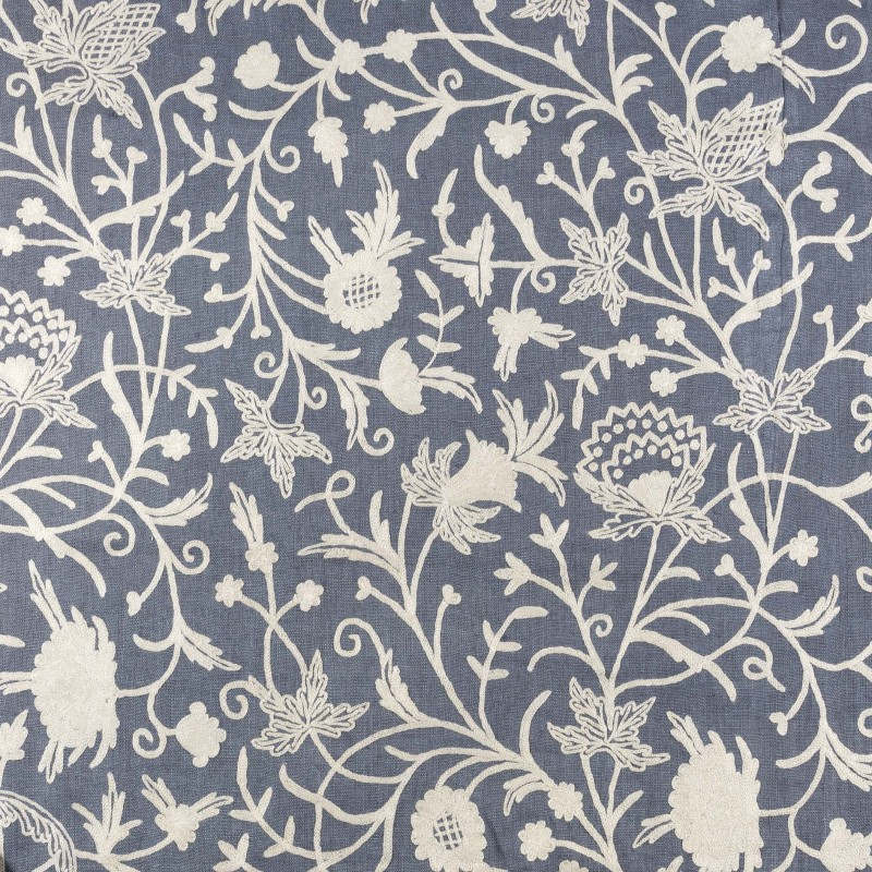 Gray blueish embroidered fabric