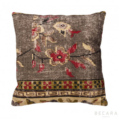 Burgundy and brown floral cushion