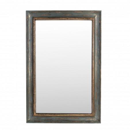 Espejo de madera gris y dorado 61x92cm