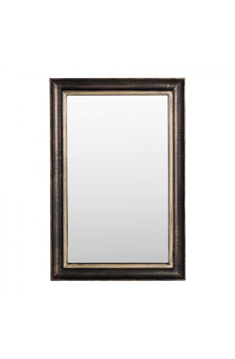 Espejo de madera negro y dorado 61x92cm espejos y - Espejo marco negro ...