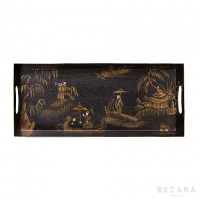 Pagoda rectangular tray with handles