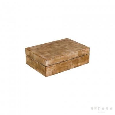 Caja hueso natural rectangular pequeña