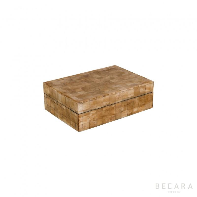Caja hueso natural rectangular pequeña - BECARA