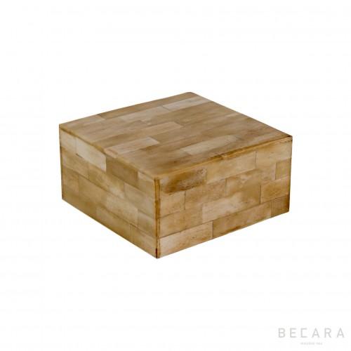 Caja hueso natural cuadrada pequeña - BECARA