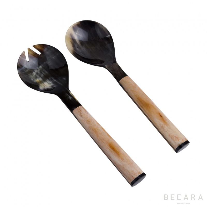 Smooth horn serving set