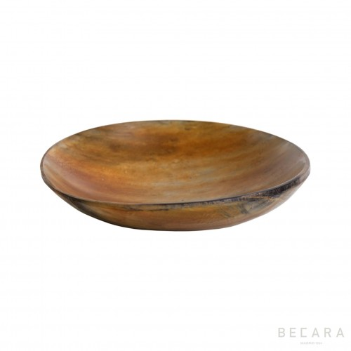 Burnished beige horn bowl