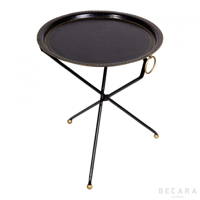 Black three-legged side table
