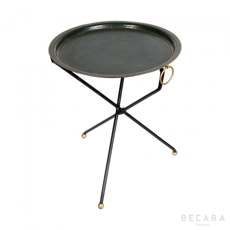Green three-legged side table