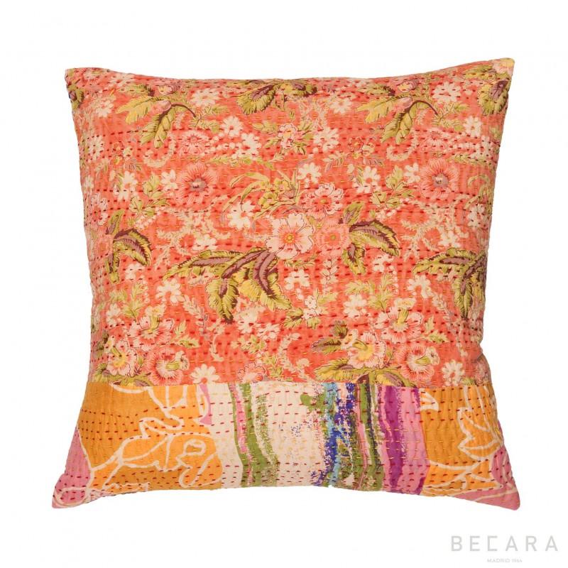 Orange flowers cushion