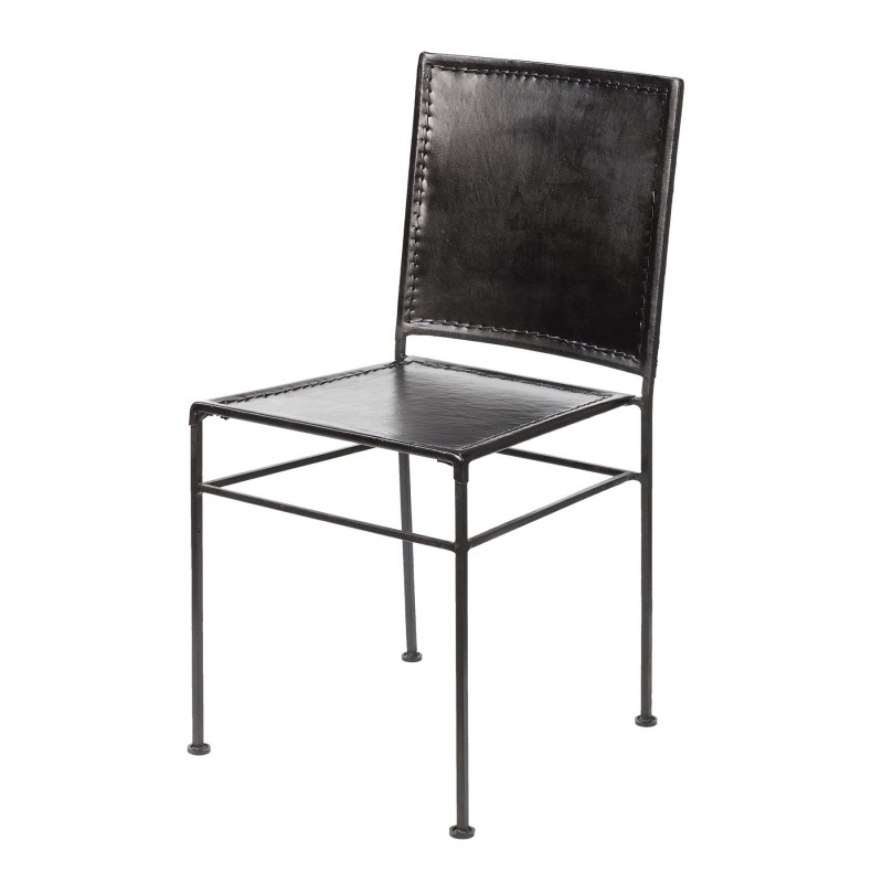 Black leather and iron chair