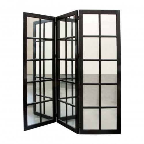 Biombo negro con espejos